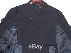 $1,595 Ralph Lauren Mens Italy Polo 1 Navy Striped Slim Custom Fit Wool Suit 46L