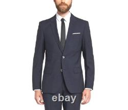 $1025 Hugo Boss Mens Slim Fit Wool Sport Coat Blue Check Suit Jacket Blazer 38s