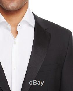 $1075 HUGO BOSS Men's SLIM FIT SUIT BLACK SOLID BLAZER TUXEDO COAT JACKET 42R