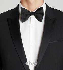 $1105 Hugo Boss Men's 44L Slim Fit Suit Black Tuxedo Sport Coat Jacket Blazer