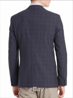 $1120 Theory Men's 36S Slim Fit Sport Coat Blue Windowpane Suit Jacket Blazer