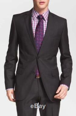 $1195 HUGO BOSS Mens Slim Fit Wool Blazer Gray Solid SUIT JACKET SPORT COAT 38S
