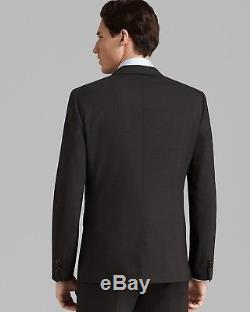 $1195 THEORY Mens Slim Fit Wool Suit Black Solid 2 BUTTON PIECE JACKET PANTS 38R