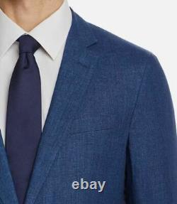 $1325 Hugo Boss Mens 44R Solid Blue Slim Fit Sport Coat Linen Suit Jacket Blazer