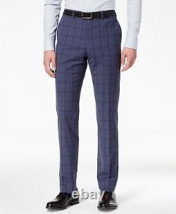 $1325 Vince Camuto Men'S Slim Fit Wool Suit Blue Check 2 Piece Jacket Pants 42s