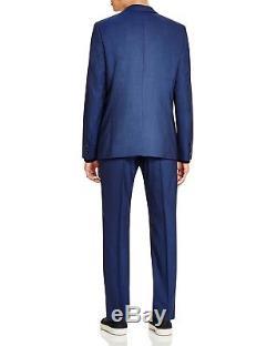 $1395 HUGO BOSS Men's SLIM FIT WOOL SUIT BLUE SOLID 2 PIECE JACKET PANTS 38R