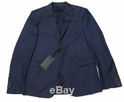 $1395 Z Zegna Mens Navy Striped Slim Fit Wool Drop 8 Suit EU 50R US 40R Blue