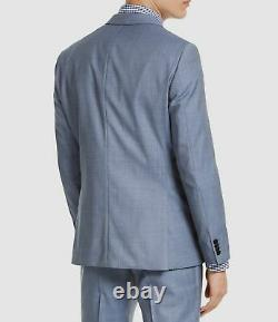 $1437 Hugo Boss Men's 38S Blue Slim Fit Solid Wool Sport Coat Suit Jacket Blazer