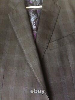 $1490 ETRO Milano I 52 42R (fit 41 max) Button Wool Suit Blue Black Window Pane