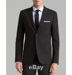 $1495 THEORY Men's Slim Fit Wool Suit Black Solid 2 PIECE JACKET PANTS 42 R