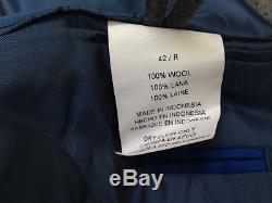 $1495 VINCE CAMUTO Men Slim Fit Flannel Wool Suit Gray 2 PIECE JACKET PANTS 42 R