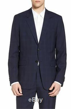$1550 Theory 42r Men'S Blue Slim Fit Wool 2 Piece Plaid Suit Coat Jacket Pants