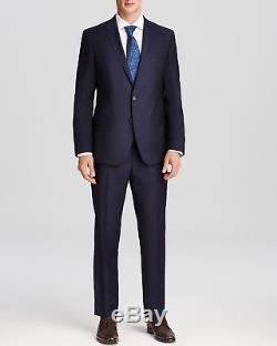 $1595 HUGO BOSS Men's SLIM FIT WOOL SUIT BLUE SOLID 2 PIECE JACKET PANTS 40R