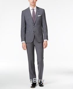 $1595 HUGO BOSS Mens Slim Fit Wool Suit Gray Solid 2 PIECE JACKET PANTS 36R