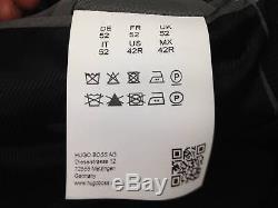 $1599 HUGO BOSS Mens Slim Fit Wool Suit Black Check 2 PIECE JACKET PANTS 42R