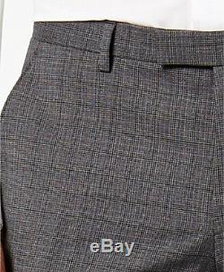 $1635 HUGO BOSS Men's SLIM Fit Wool GRAY PLAID 2 PIECE SUIT JACKET PANTS 48L