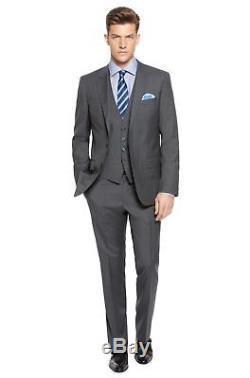 $1645 HUGO BOSS Men's SLIM Fit Wool GRAY PINSTRIPE 2 PIECE SUIT JACKET PANTS 46R
