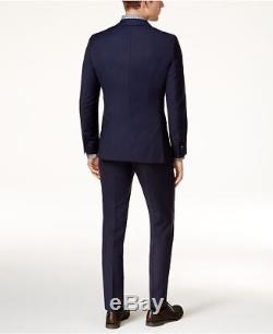 $1655 HUGO BOSS Men's SLIM FIT SUIT BLUE TEXTURED SOLID 2 PIECE JACKET PANTS 42R