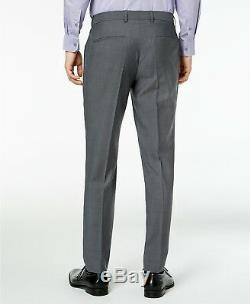 $1675 HUGO BOSS Men's SLIM FIT WOOL SUIT GRAY SOLID 2 PIECE JACKET PANTS 46R