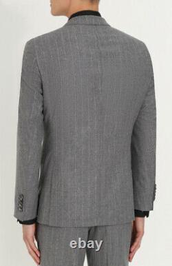 $1745 Hugo Boss Men's 38R Slim Fit Wool Gray Striped 2 Piece Suit Jacket Pants