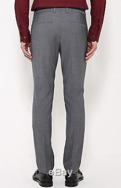 $1795 HUGO BOSS Mens Extra Slim Fit Wool Suit 2 PIECE Gray JACKET PANTS 38R