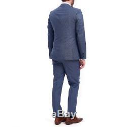 $1795 HUGO BOSS Mens SLIM FIT WOOL SUIT BLUE SOLID 3 PIECE JACKET VEST PANTS 40S