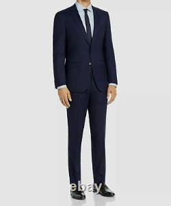 $1898 Hugo Boss Men's 48R Blue Wool Plaid Slim Fit 2 Piece Suit Jacket Pants