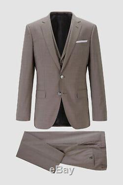 $1945 Hugo Boss Men's 42R Beige Slim Fit Wool 3 Piece Suit Jacket Vest Pants