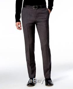 $1995 HUGO BOSS Men Slim Fit Wool Suit Gray Herringbone 2 PIECE JACKET PANTS 42S