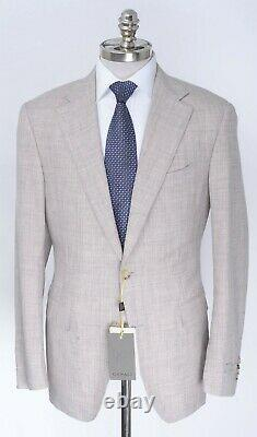 $1995 NWT CANALI 1934 Heather Taupe Wool Linen Silk Travel Suit 46 8R (EU 56)