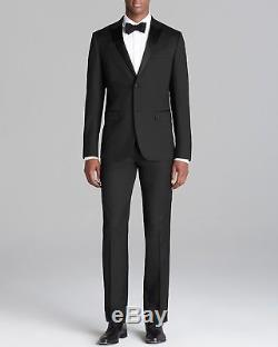 $1995 THEORY Mens Slim Fit Wool Tuxedo Suit Black Solid 2 PIECE JACKET PANTS 38S