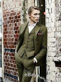 2018 Olive Green 3 Pieces Tweed Men's Suit Slim Fit 40 42 44 46 48+ Custom NEW
