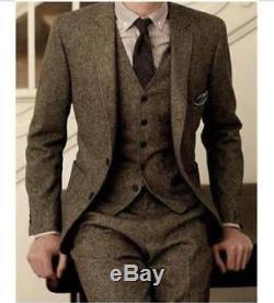 2018 Vintage Wool Tweed 3-Piece Brown Khaki Herringbone Suit Custom Slim Fit