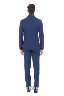 2050$ PAL ZILERI SARTORIALE Blue Wool Linen Suit 36 US / 46 EU 8R Slim Fit