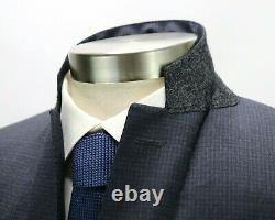 $2195 Canali 1934 Wool Suit 38 R (48 EU) Blue Grey Check Two Button Slim Fit
