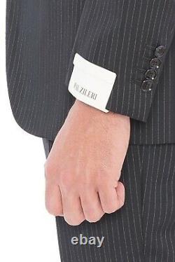 2280$ PAL ZILERI Black Striped Wool Super 100'S Suit 36 US / 46 EU 8R Slim Fit