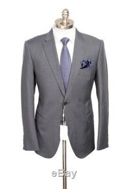$2K NWT ARMANI COLLEZIONI M Line Gray Blue Birdseye Slim Suit 52 fits 42 / 40 R