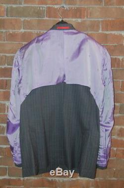 36 S ISAIA Charcoal Grey Stripe Super 150's Aqua Light Slim Fit Suit Base