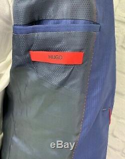 $398 HUGO BOSS Mens Blue Stripe Wool Extra Slim Fit Suit Jacket Sport Coat 38R