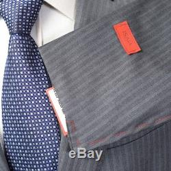 $3995 NWT ISAIA Napoli Gray Striped 120's Handmade Slim Fit 2Btn Suit 52 8R 42 R