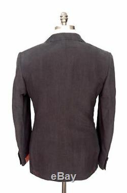 $4K ISAIA Solid Black Washed Linen Silk 2Btn Slim Fit Tuxedo Suit 48 38 R Drop 7