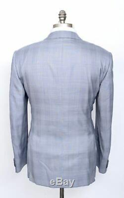 $5050 NWT ZILLI Gray Blue Glen Plaid Wool Silk 2Btn Slim-Fit Suit 52 42 R Drop 8