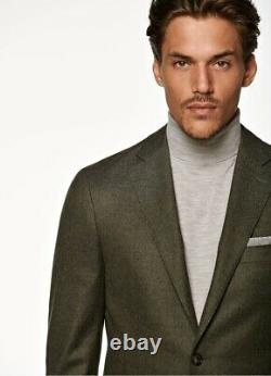 $569 Suitsupply Havana Flannel Slim Fit Solid Suit 40R Dark Green P5554I05