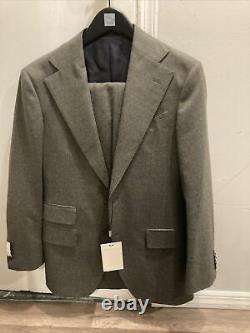 $569 Suitsupply Havana Slim Fit Solid Flannel Suit 36R Dark Green P5554I05