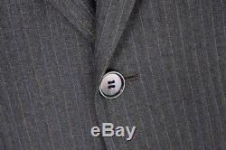 $5995 NWT STEFANO RICCI Super 120's Wool 2Btn Gray Striped Slim Fit Suit 54 L 44
