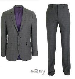 £680 Paul Smith London KENSINGTON Slim Fit LUXURY Suit Stripe Purple Lining