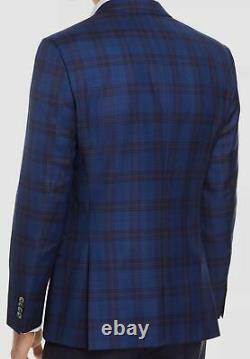 $695 Hugo Boss Men's 46R Blue Plaid Slim Fit Wool Sport Coat Suit Jacket Blazer