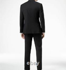 $729 Calvin Klein 38 S Men Black Wool Extreme Slim Fit Suit Jacket Blazer Pants