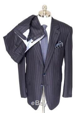 $7495 NWT STEFANO RICCI 100% Cashmere 2Btn Navy Pinstripe Slim Fit Suit 58 L 48