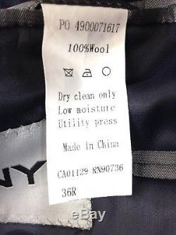 $750 DKNY men BLUE WOOL SLIM FIT SUIT 2 PIECE JACKET BLAZER SPORT COAT PANTS 36R